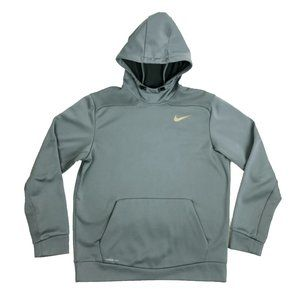 Nike Therma Fit L Large Hoodie Gold Swoosh Gray